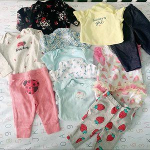 •, Bundle of 11 baby girl onesies pants